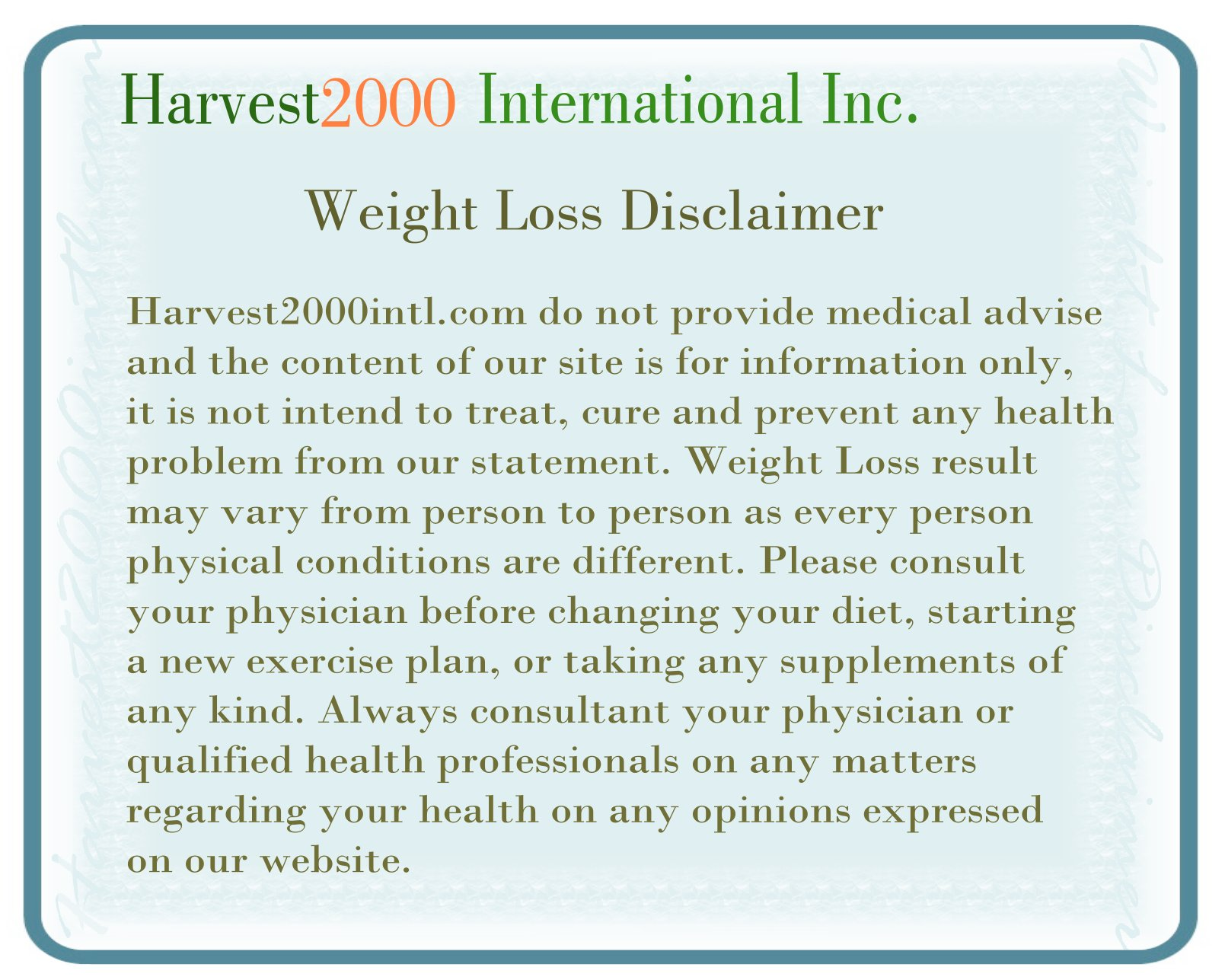 weight loss disclaimer