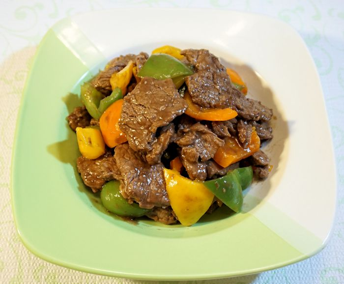 Sauteed Bell Peppers & Beef with steak sauce